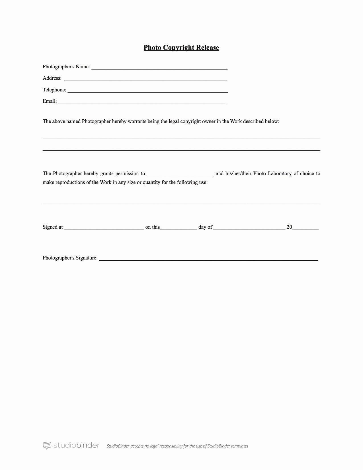 Copyright Release form Template Fresh Lovely Free Model Release form Template