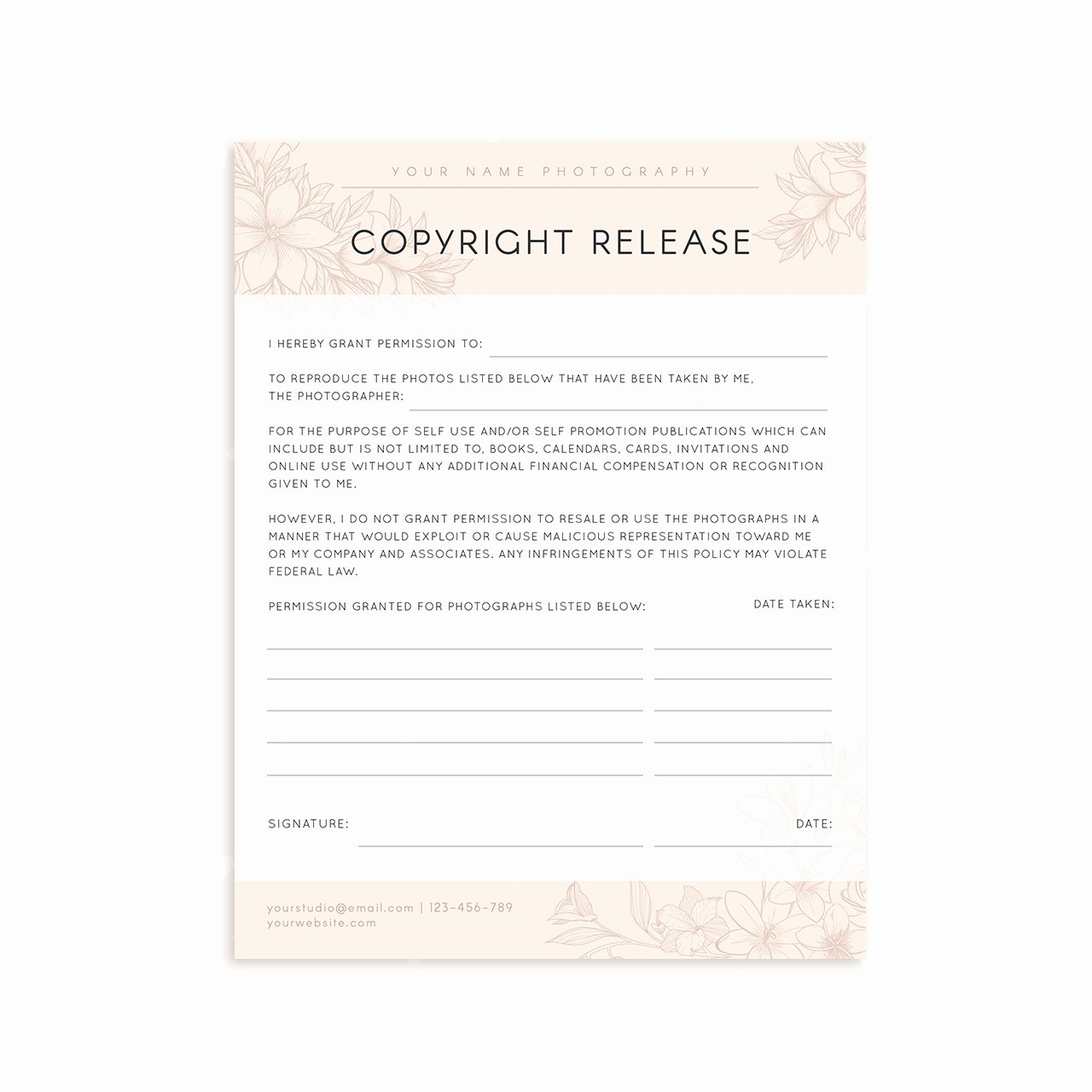 Copyright Release form Template Inspirational Copyright Release form Template Strawberry Kit