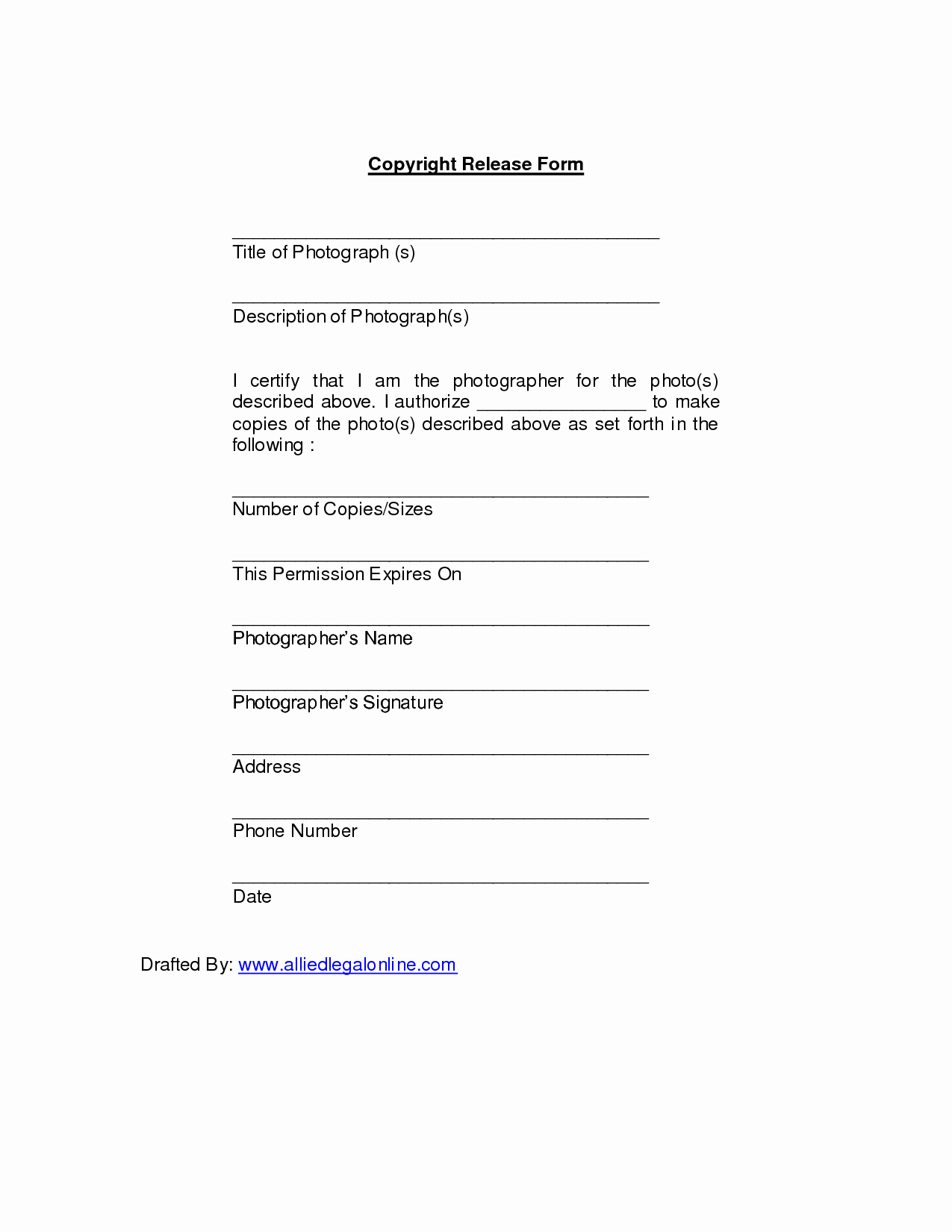 Copyright Release form Template Lovely Copyright Release for