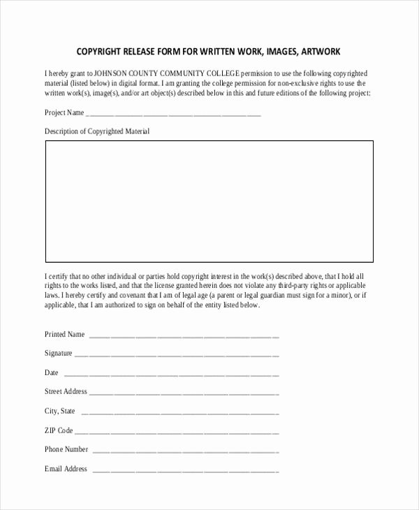 Copyright Release form Template New 21 Print Release form Templates