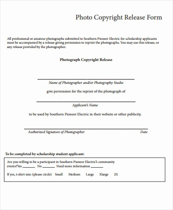 Copyright Release form Template New 9 Sample Copyright Release forms