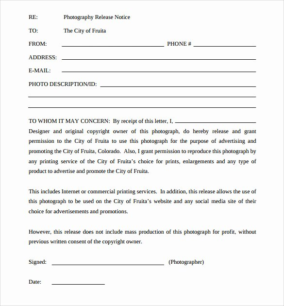Copyright Release form Template Unique 7 Print Release forms – Pdf
