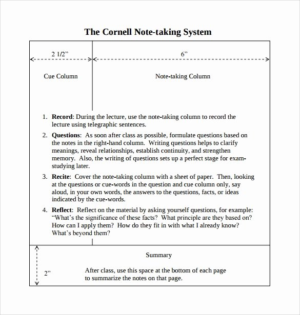 Cornell Note Template Word Elegant 16 Sample Editable Cornell Note Templates to Download