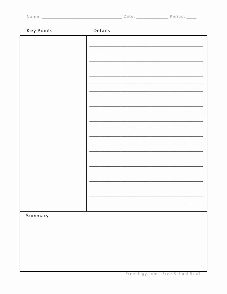 Cornell Note Template Word Lovely Cornell Notes format