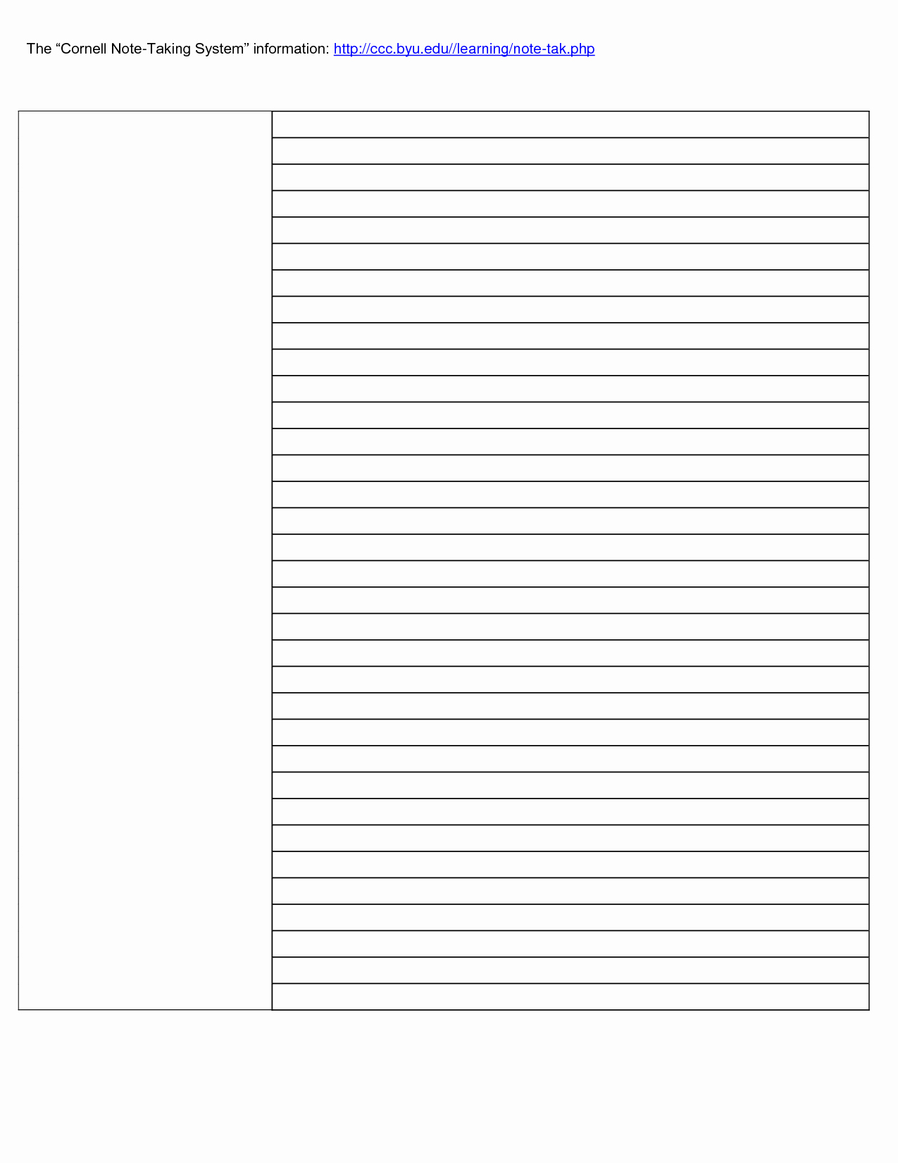 Cornell Note Template Word Lovely Cornell Notes Template Word Beepmunk