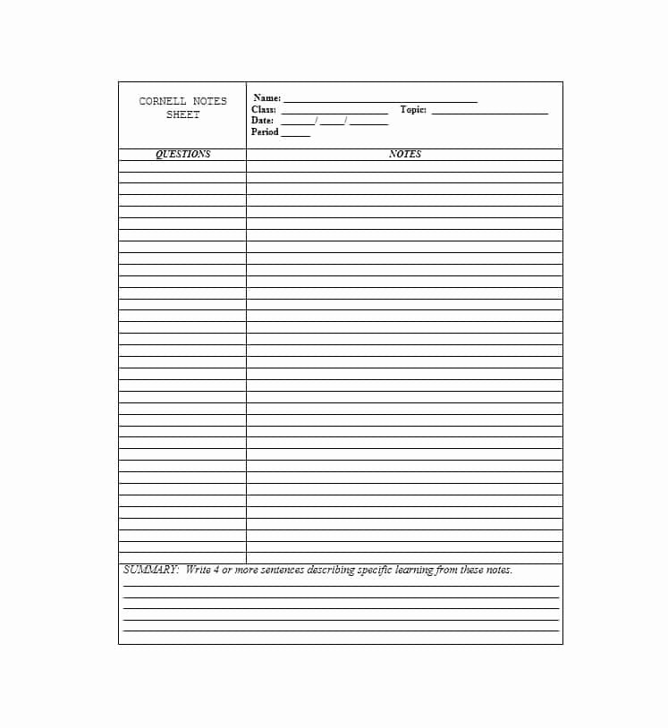 Cornell Note Template Word New 36 Cornell Notes Templates & Examples [word Pdf]