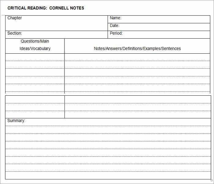 Cornell Notes Template Download Beautiful Cornell Notes Template 51 Free Word Pdf format