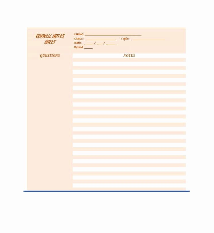 Cornell Notes Template Download Inspirational 36 Cornell Notes Templates & Examples [word Pdf]