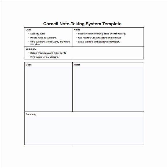 Cornell Notes Template Download Unique 16 Sample Editable Cornell Note Templates to Download
