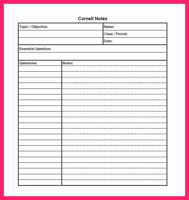 Cornell Notes Template Download Unique Cornell Notes Template Pdf