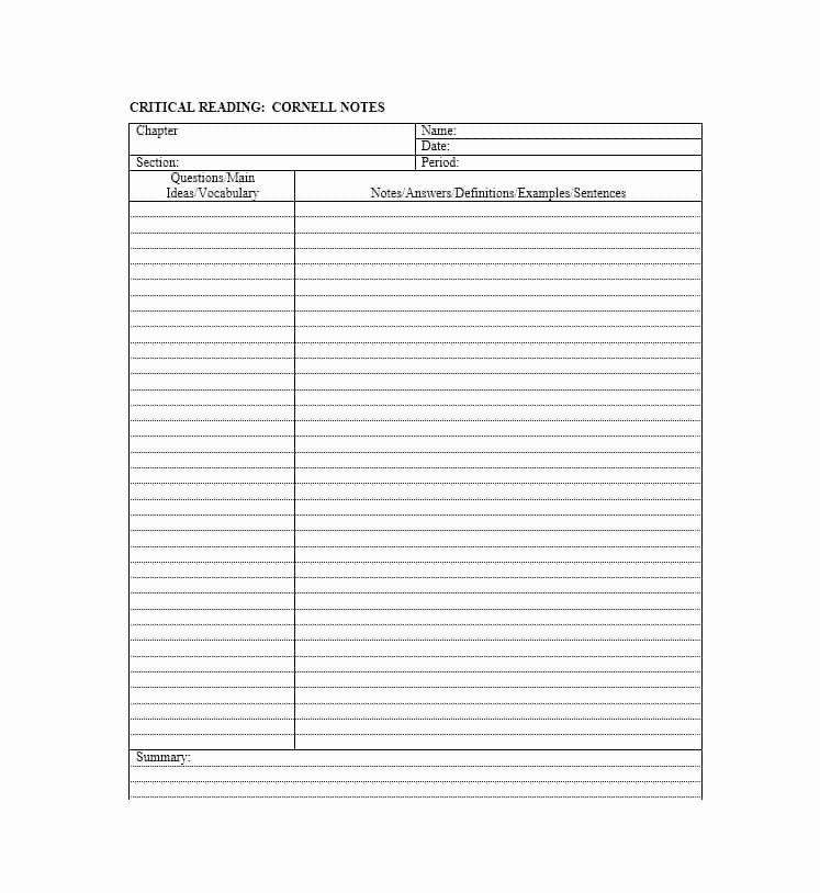Cornell Notes Template Pdf Awesome 36 Cornell Notes Templates & Examples [word Pdf]