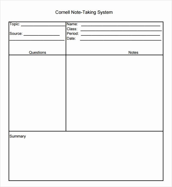 Cornell Notes Template Pdf Beautiful 16 Sample Editable Cornell Note Templates to Download