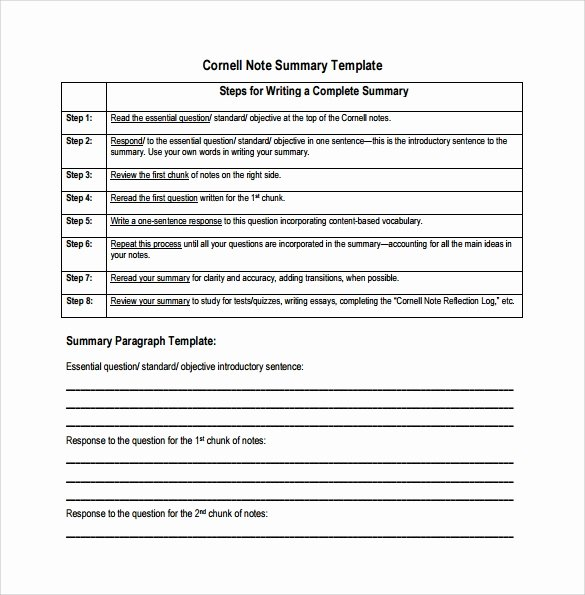 Cornell Notes Template Pdf Elegant 16 Sample Editable Cornell Note Templates to Download