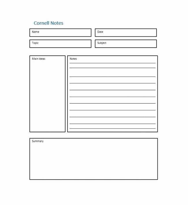 Cornell Notes Template Pdf Fresh Cornell Notes Template