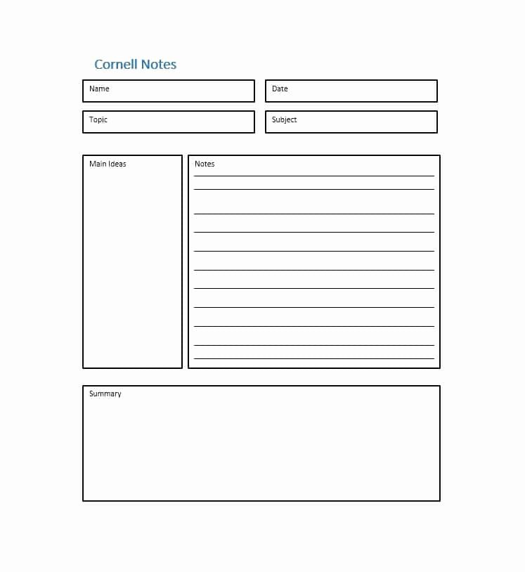 Cornell Notes Template Pdf Inspirational 36 Cornell Notes Templates & Examples [word Pdf]