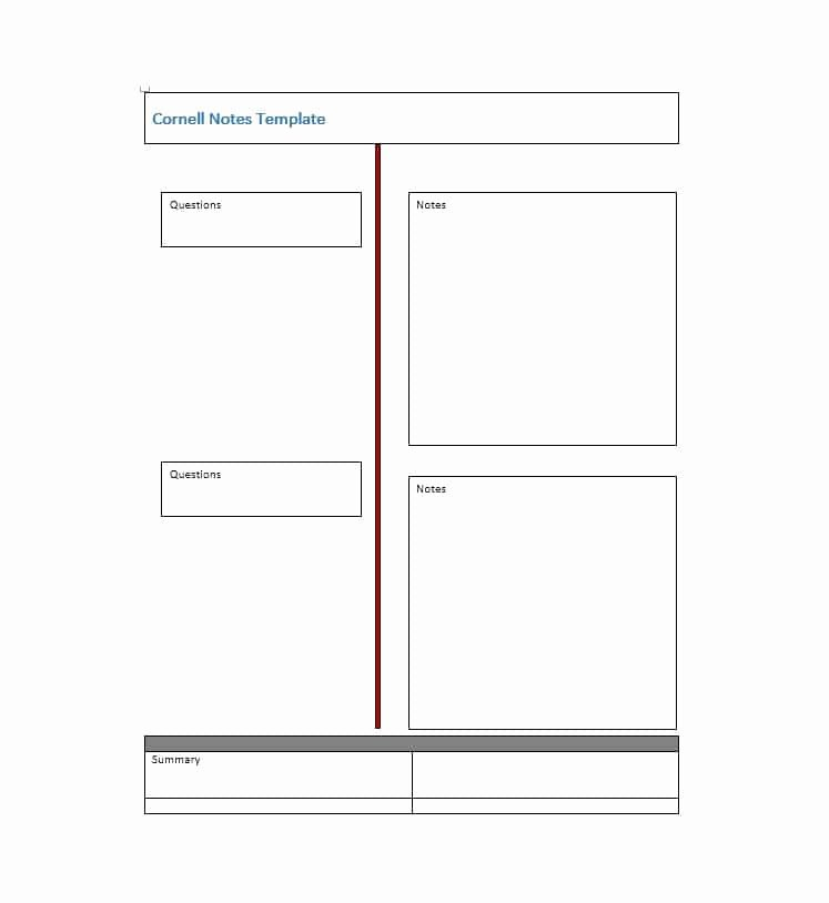 Cornell Notes Template Pdf New 36 Cornell Notes Templates & Examples [word Pdf]