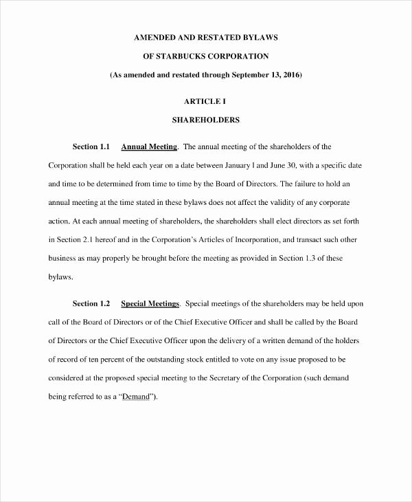 Corporate bylaws Template Free Best Of 9 Free Corporation bylaws Templates Pdf