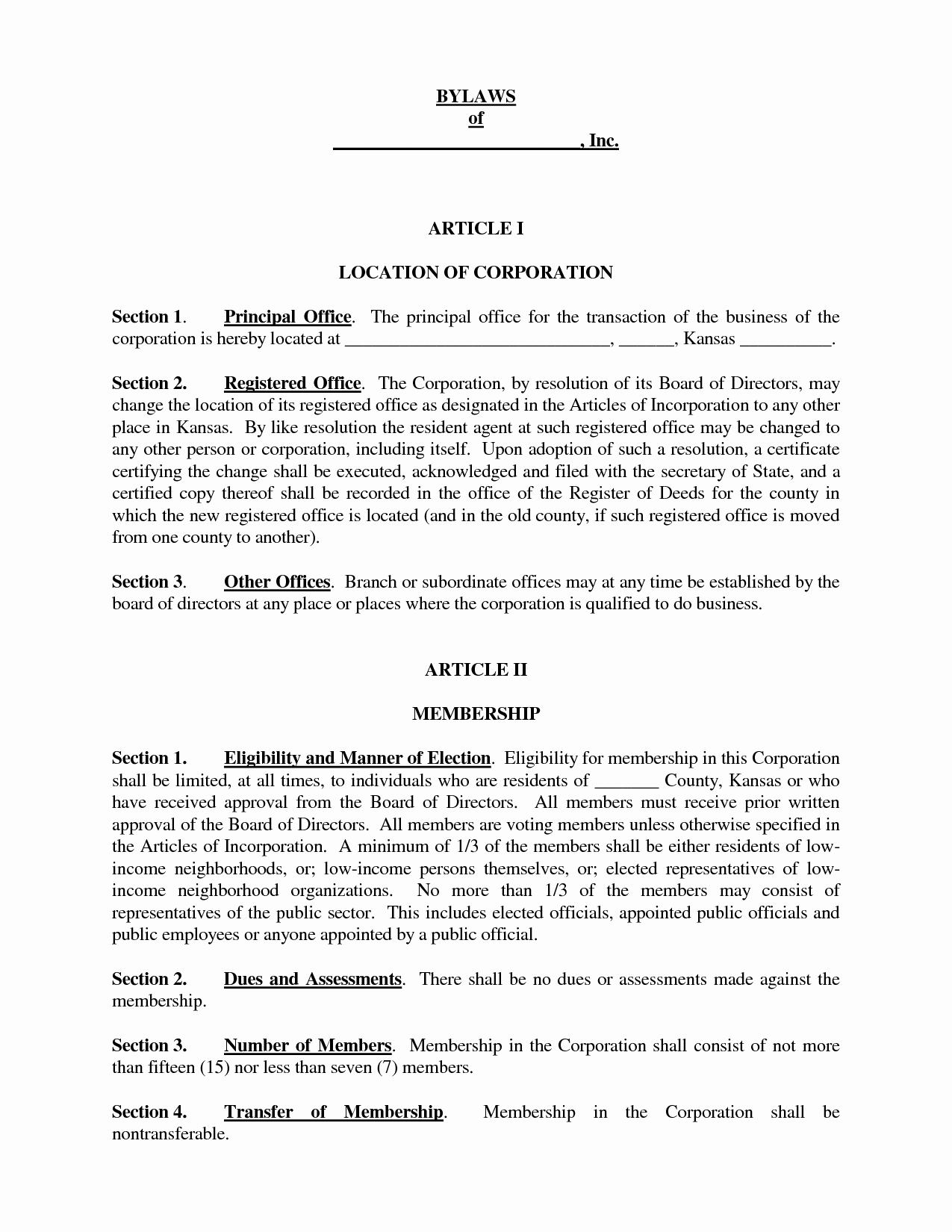 Corporate bylaws Template Free Elegant Template bylaws Template