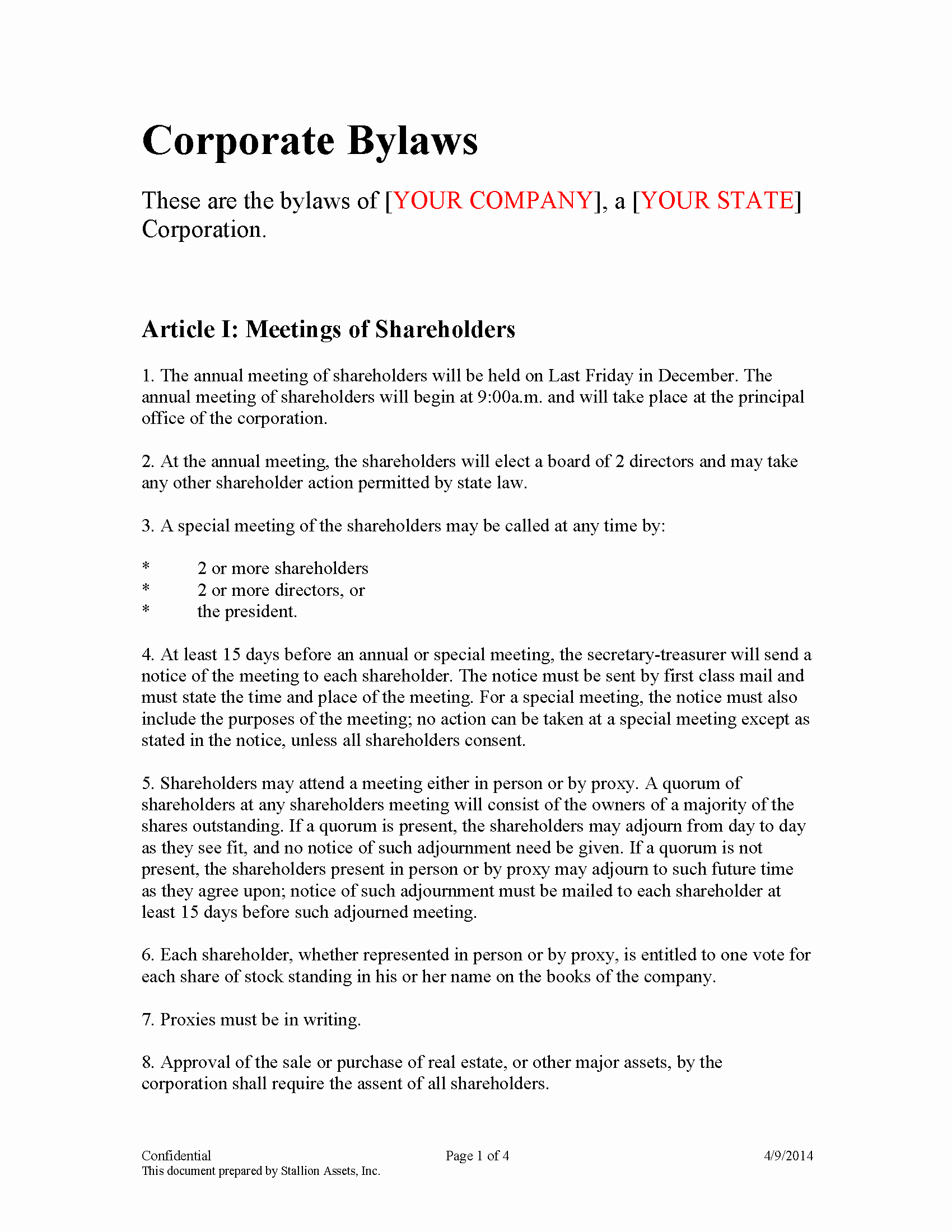 Corporate bylaws Template Free Fresh bylaw Template Mughals