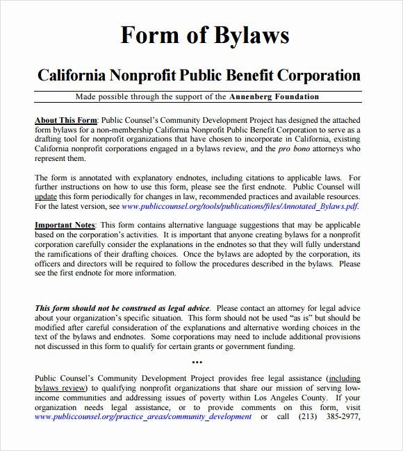 Corporate bylaws Template Free Luxury 7 bylaws Templates