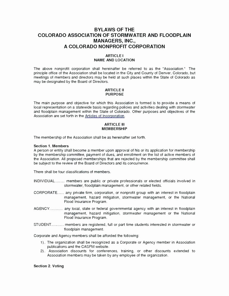Corporate bylaws Template Free Unique Non Profit bylaws Template Free Accraconsortium