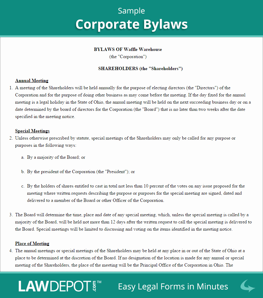 Corporate bylaws Template Pdf Beautiful Sample Corporate bylaws 878×995