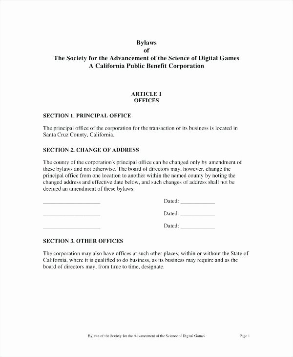 Corporate bylaws Template Pdf Best Of Corporate bylaws Template Free Corporation Canada
