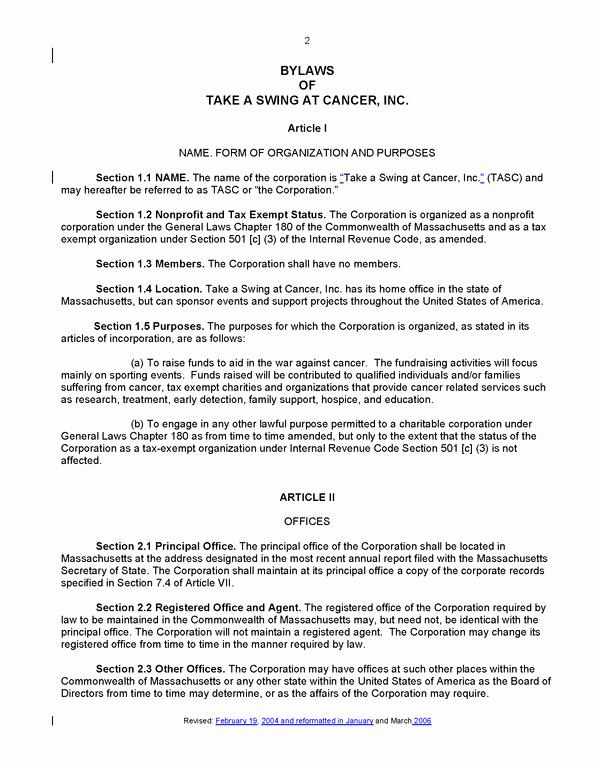 Corporate bylaws Template Pdf Elegant File Tasc bylaws 2006 Revision
