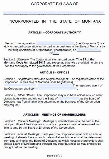 Corporate bylaws Template Pdf Elegant Free Montana Corporate bylaws Template Pdf