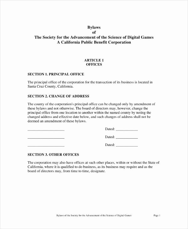 Corporate bylaws Template Pdf Luxury 9 Free Corporation bylaws Templates Pdf