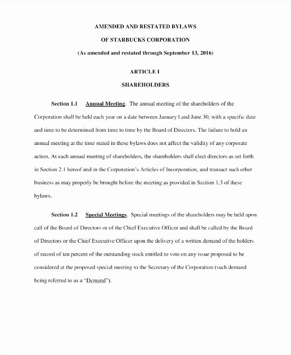 Corporate bylaws Template Pdf Luxury Non Profit bylaws Template New Corporate bylaw at Manual