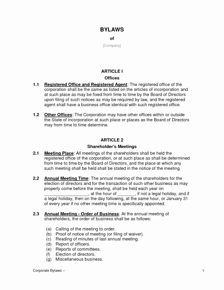 Corporate bylaws Template Pdf Luxury Template bylaws Template