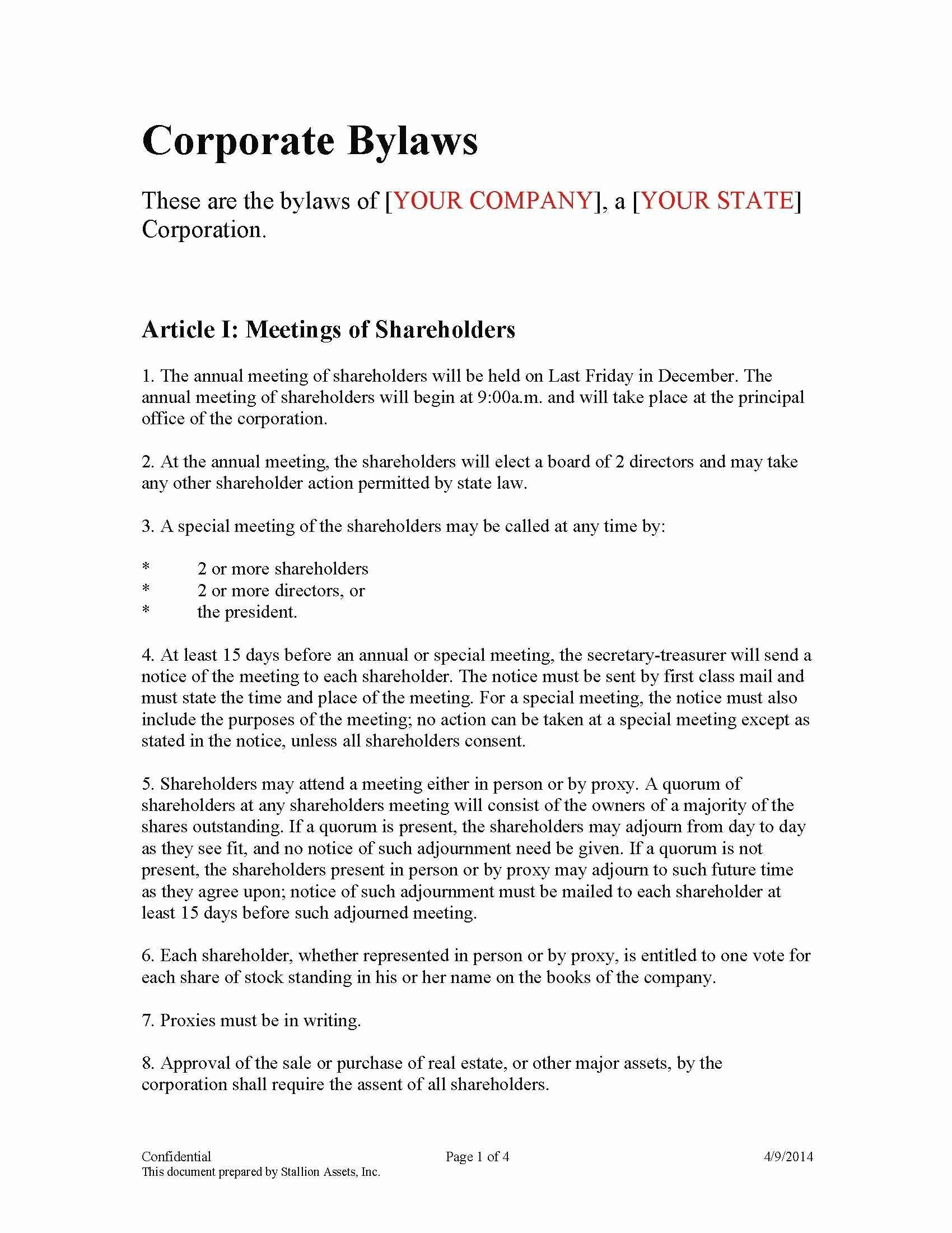 Corporate bylaws Template Pdf New Inspirational Corporate bylaws Sample Pdf