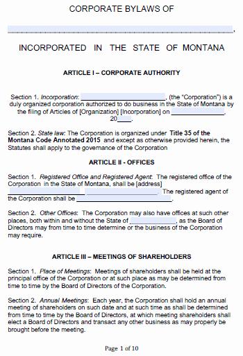Corporate bylaws Template Word Elegant Free Montana Corporate bylaws Template Pdf