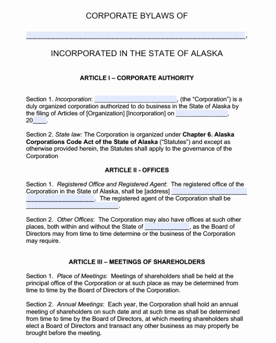 Corporate bylaws Template Word Lovely Free Alaska Corporate bylaws Template Pdf