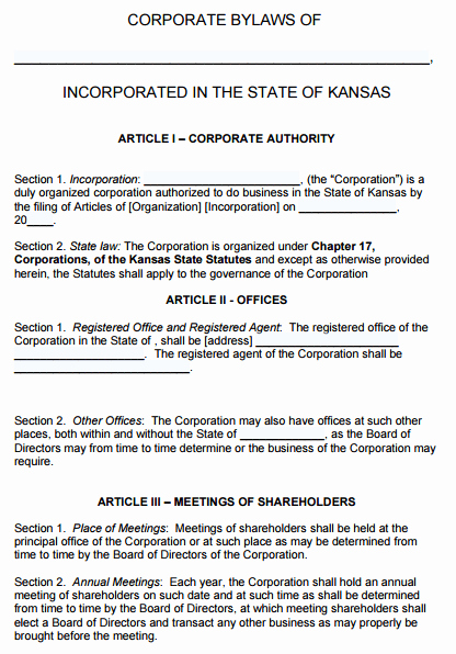 Corporate bylaws Template Word Unique Free Kansas Corporate bylaws Template Pdf