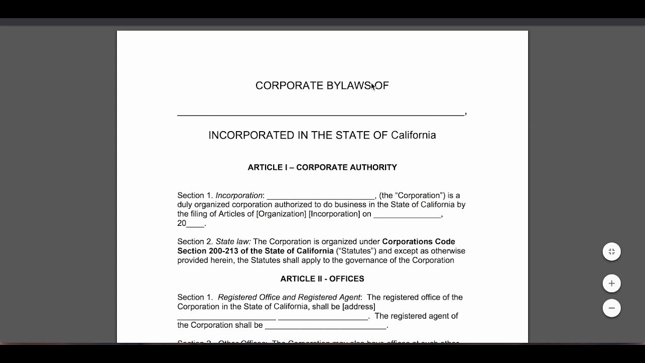 Corporate Minutes California Template Lovely Free Corporate bylaws Template Pdf