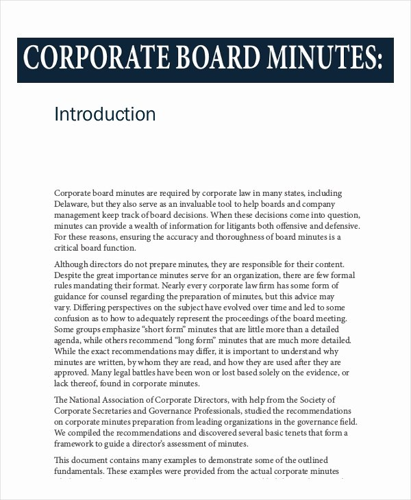 Corporate Minutes California Template Unique 16 Board Minutes Templates Example Word Apple Pages