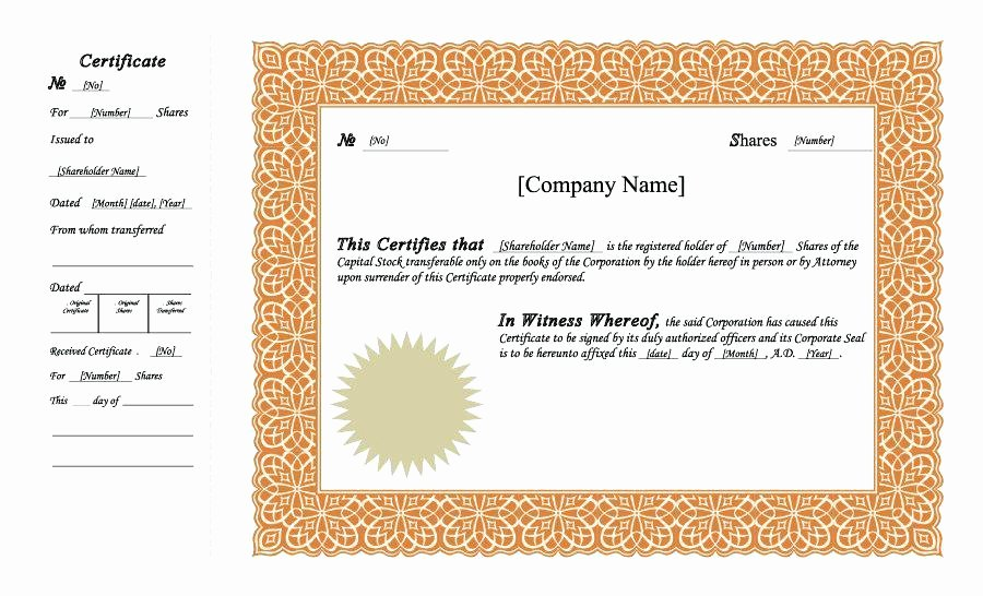 Corporate Seal Template Word Lovely Free Stock Certificate Templates Word Template Lab Free