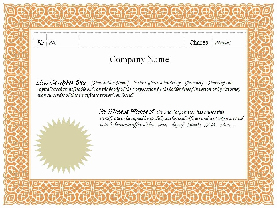 Corporate Seal Template Word Unique and Stock Certificate Template Mon Seal Vector