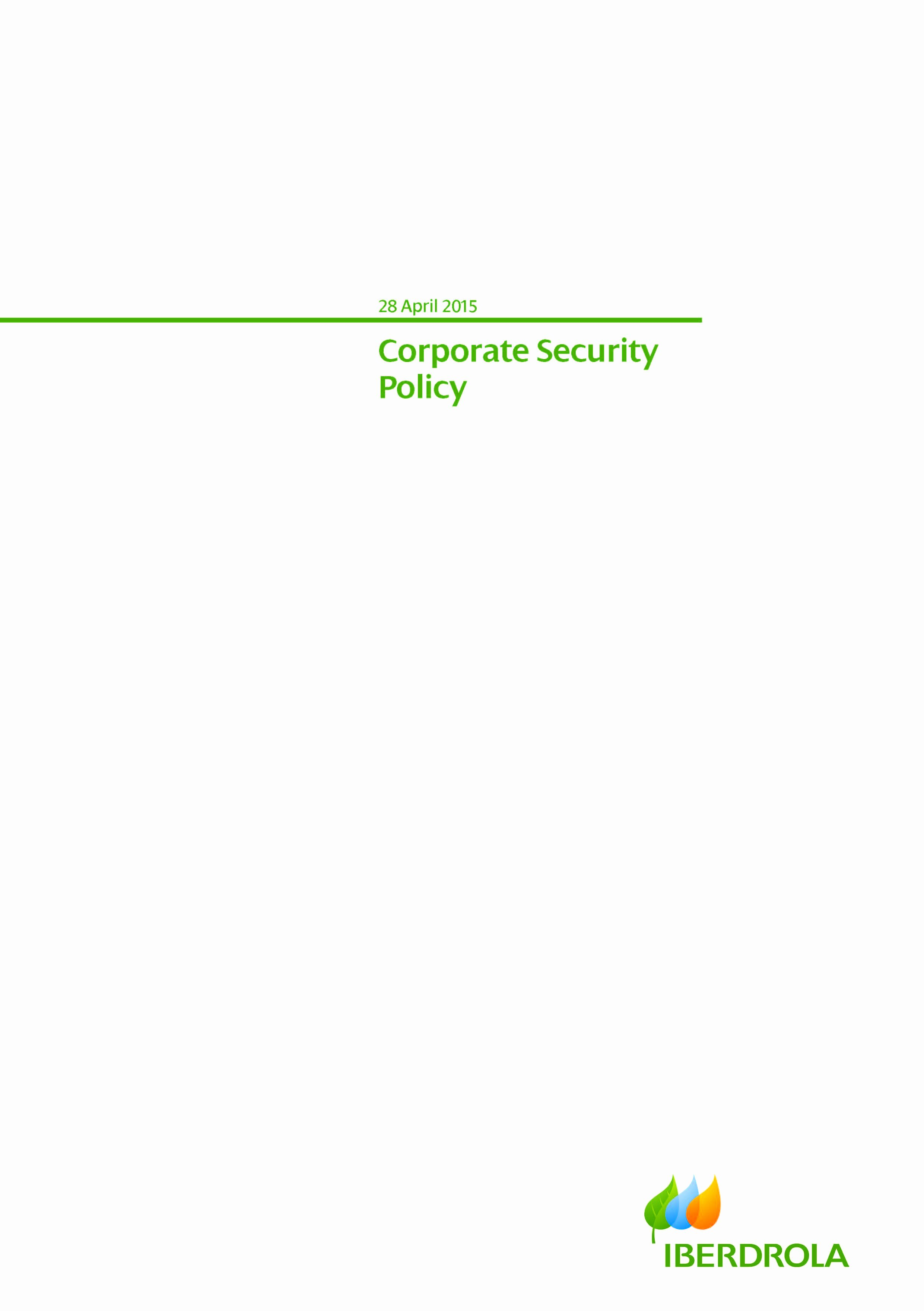 Corporate Security Policy Template Awesome Corporate Security Policy Template Pdf format