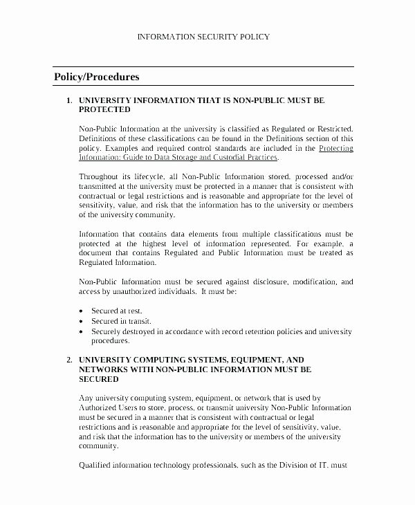 Corporate Security Policy Template Elegant Pany Cyber Security Policy Template