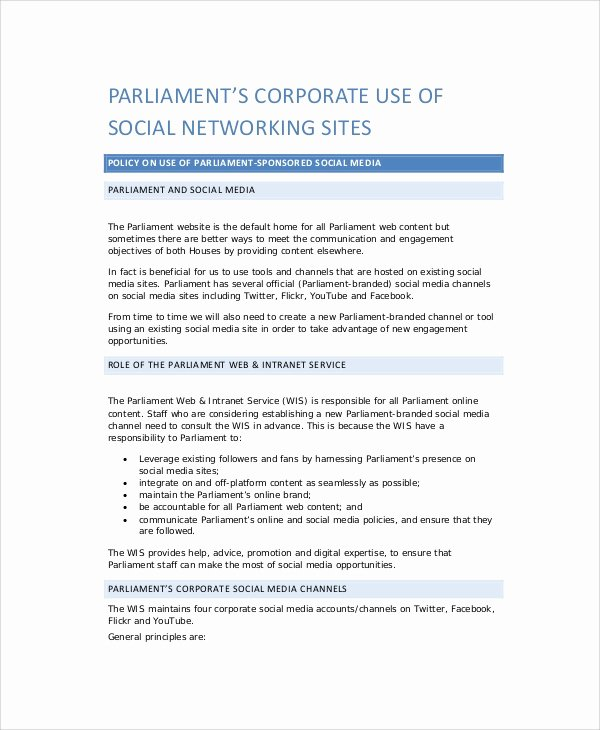 Corporate Security Policy Template Inspirational 8 social Media Policy Samples