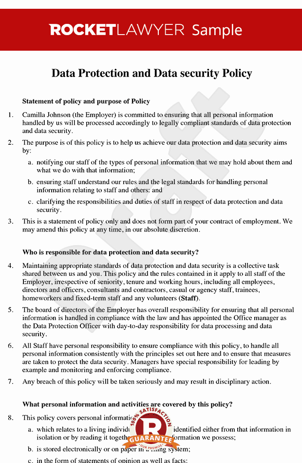 Corporate Security Policy Template Inspirational Data Protection Policy Data Security Policy Data