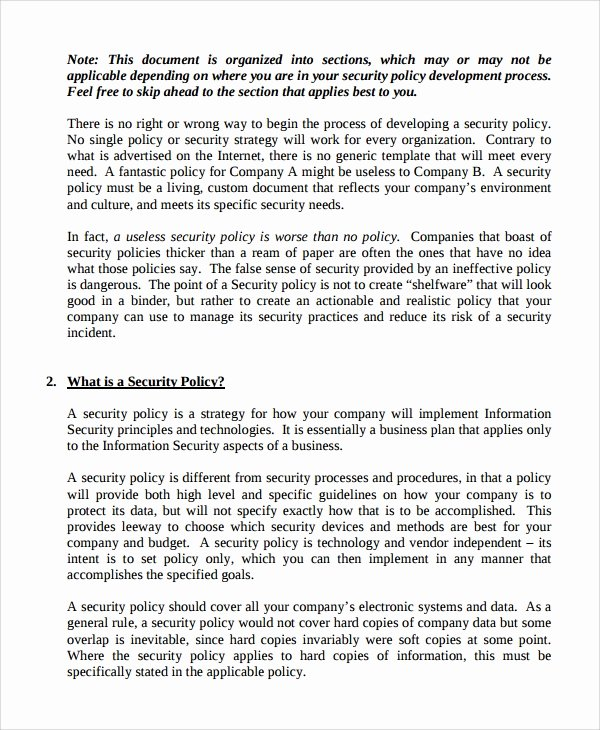 Corporate Security Policy Template Lovely 10 It Security Policy Templates