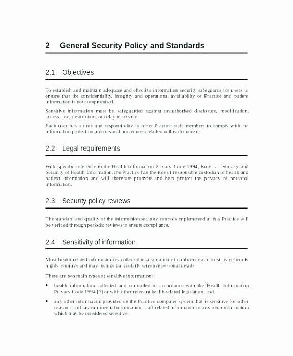 Corporate Security Policy Template Luxury Information Security Policy Template Sample Information