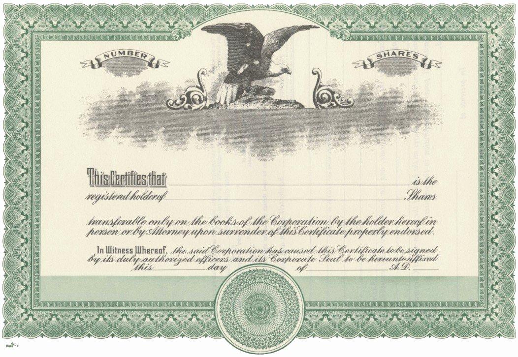 Corporate Stock Certificate Template Fresh Blank Stock Certificate Free Printable Documents