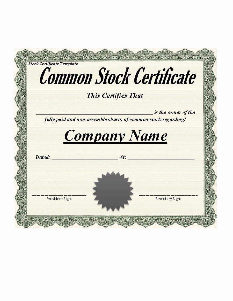 Corporate Stock Certificate Template Luxury 41 Free Stock Certificate Templates Word Pdf Free