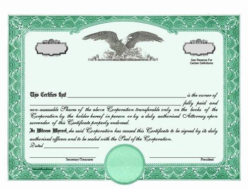 Corporate Stock Certificate Template Luxury Custom Stock Certificates