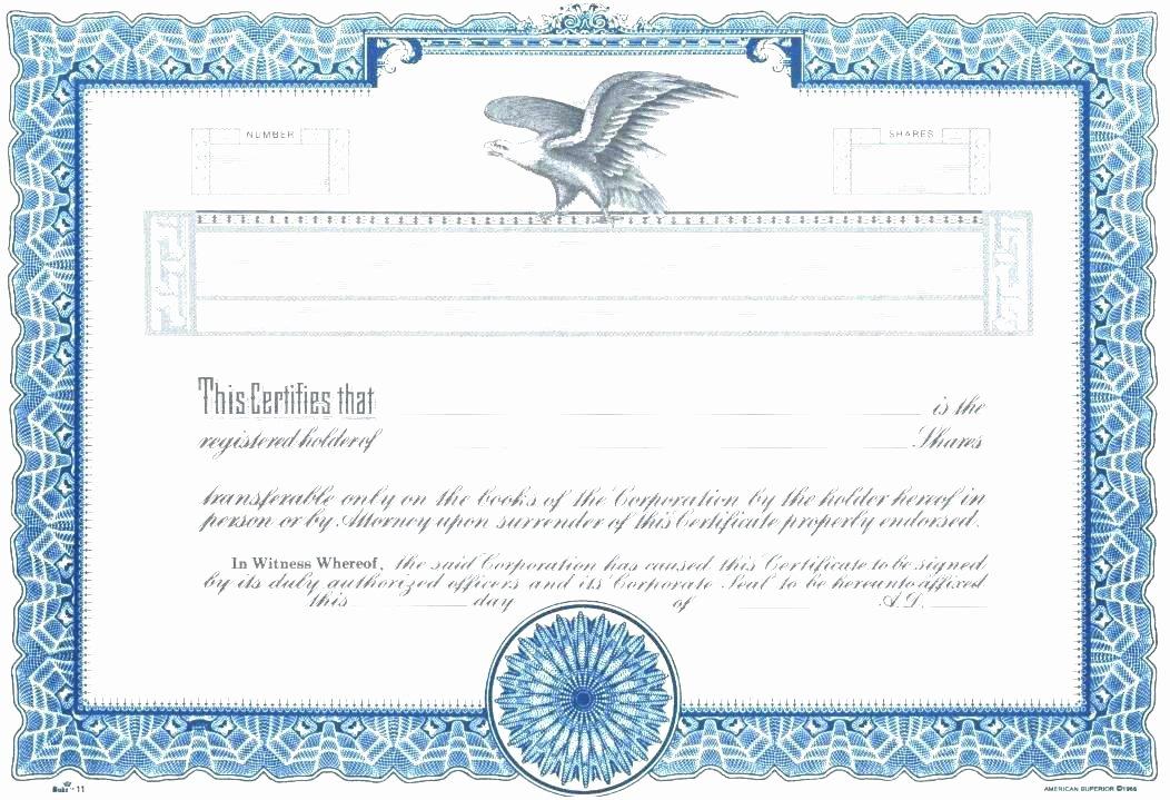 Corporate Stock Certificate Template Luxury Printable Stock Certificate Template Free Pany